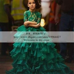 Hunter Green Lovely Pageant Flower Girls Dresses 2016 Ball Gown Tiered Skirt Illusion Lace Long Sleeves Kids Girls Formal Prom Party Gowns