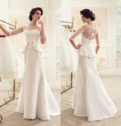 Wholesale Scoop neck vintage lace wedding dresses cheap half sleeves bridal gown zipper back bowknots peplum mermaid wedding gowns