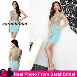 Wholesale 2016 Short Homecoming Dresses with Sheer Crew Neck Real Photo Illusion Backless Evening Cocktail Party Gowns Lycra Crepe Prom Formal Wear