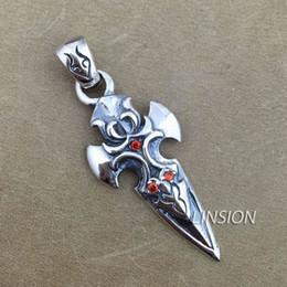 """925 Sterling Silver Cross Flower Red CZ Beautiful Biker Rocker Punk Pendant 8A010 Steel Necklace 24"""""""