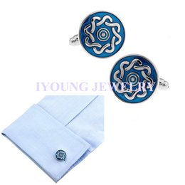Famous Brand Round Blue Paint Enamel Cufflinks Steel Plated Cuff Link Sleeve Nail Business Shirt Buttons Wedding Dress Party Gift