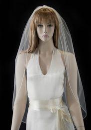 New Alloy Comb Luxury High Quality Best Sale Romantic Elbow White Ribbon Edge Veil Mantilla Veil Bridal Head Pieces For Wedding