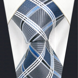 A17 Silver Gray Blue Checkered Geometric Silk Fashion ties for men Wedding Brand New Dress Mens Necktie male