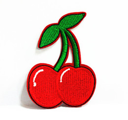 Wholesales 10 Pieces Red Green Cherry Kids Patch (6cm x 8.5 cm) Fruit Embroidered Applique Iron On Patch (ALS)