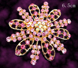 Wholesale Women fashion Gold plated flower shape Zinc alloy rhinestone brooches jewelry Free shipping 12pcs lot Mixed colors BH763