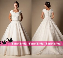 Wholesale Modest Design Country Wedding Dresses with Cap Sleeves Queen Anne Neckline A Line Ball Cheap Tulle Temple Bridal Gowns Princess Style