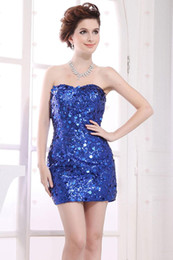 Wholesale 2015 vintage Sparkle clothing Sexy short dresses Sheath Strapless Royal Blue Satin Beads Sequin Mini Party Dresses Hugging Homecoming Dresse