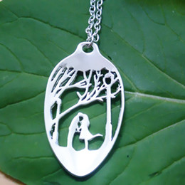 wholesale 20pcs lot Handcrafted Spoon Necklace plated Pendants Hand Cut Necklaces Couple Jewelry fot women
