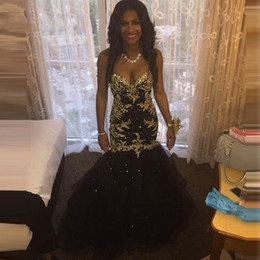 New African Black Girl Prom Dresses 2019 Gold Appliques Sweetheart Mermaid Lace Women Formal Party Dress Evening Wear Custom Plus Size