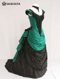 2016 Noble Green And Black Short Sleeves Victorian Bustle Ball Gown Elegant Wedding Party Dresses