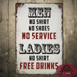 Wholesale Ladies No Shirt Free Drinks Large Metal Sign Funny Retro Tin Plaque Man Cave Bar