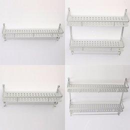 Wholesale Aluminum Towel Bar Rack Bathroom Storage With Hanger Holder Wall Shelf For Shampoo Soap Home House Accessory