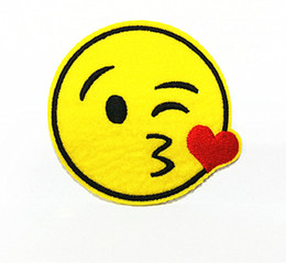 10 Pieces Cartoon Emoticons Kiss Smile Face (7 x 7 cm) Kids Patch Embroidered Applique Iron on Patch (ALW)