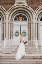 New Luxury Elegant Amazing Top Quality Best Sale Chapel White Ivory Lace Applique veil Bridal Head Pieces For Wedding Dresses