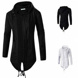 Wholesale Mens Hoodies and Sweatshirts Oversized Hombre Hip Hop Men Hooded Sweatshirt Hoodies Long Section Cardigan Coat Cape Cloak W05