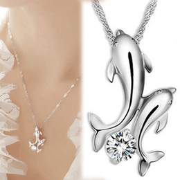 Wholesale Cute Silver Plated Double Dolphin Rhinestone Short Chain Pendant Necklace Women Fashion Jewelry