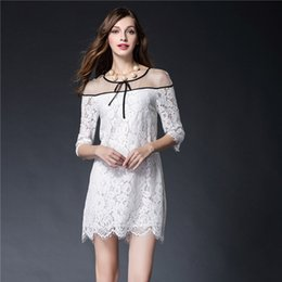 Wholesale New Europe Fashion Lace Mini Sexy Dresses Slim Hollow Casual Dress Embroidery Advanced Women Clothing White