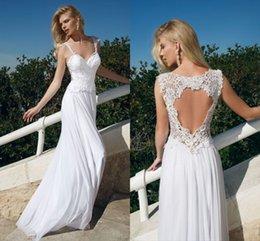 Backless Lace 2016 Bohemian Beach Wedding Dresses Spaghetti A-line Chiffon Bridal Dresses Summer Cheap Wedding Gowns