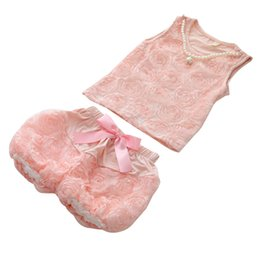 PrettyBaby 2016 summer girls suits pink vest+shorts lace style pearl accessories floral bow belt kids clothing free shipping