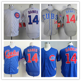 Wholesale 2016 Majestic Official Cool Base MLB Stitched Chicago Cubs Ernie Banks White BLue Gray Baseball Jerseys Mix Order
