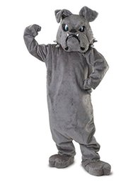 Wholesale Cool Bulldog Mascot costume Gray School Animal Team Cheerleading Complete Outfit Adult Size