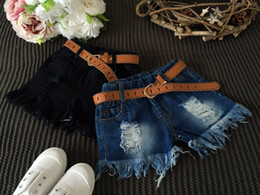 wholesale 2018 summer kids shorts girls shorts Hole Tassel denim shorts With Belt Kids clothing Blue Black free shipping