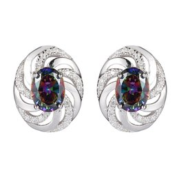 Shinning Rainbow and White Cubic Zirconia 925 sterling Silver Earrings S--3732 European Jewelry For Women Wedding Party Birthday Top Quality