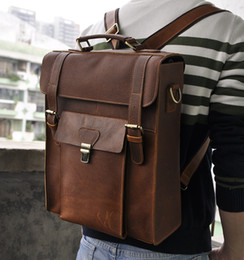 Wholesale 1314 Crazy Horse Leather Backpack Travel Backpack Vintage Style Backpack Custom Logo Welcome Top Grade Men Leather Bag Business Men Bag