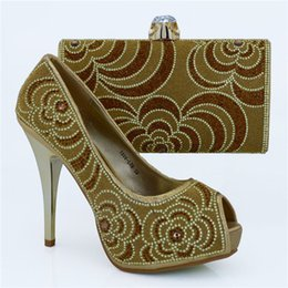 High quality rhinestone pattern high heel 12CM ladies pumps african shoes match handbag set for party dress 1308-L78 gold