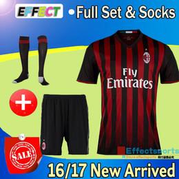 Wholesale 2017 New AC milan Soccer Jerseys kits MENEZ BACCA Survetement football shirts honda EL SHAARAWY men full set jerseys shorts socks