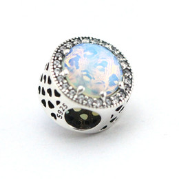 Fits Pandora Charms Bracelet 925 Sterling Silver Beads Radiant Hearts,opalescent pink & Clear CZ DIY Jewelry wholesale