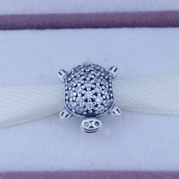 Loose beads fit for pandora charms jewelry 925 sterling silver jewelry Turtle silver charm with cubic zirconia sterling silver charms