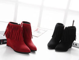 2015 new winter boots and explosion pointed slope with fringed suede short tube Martin boots boots wholesale