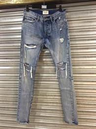 Wholesale-mens jumpsuit designer RedLine rock star justin bieber kanye skinny ripped denim designer jeans for men high quality fear of god