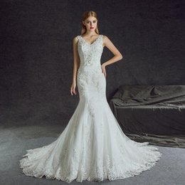 Lovely dress888 V-neck Lace Beaded 2017 Hot Popular Mermaid wedding dresses Hot selling Sparkly Pearls Elegant