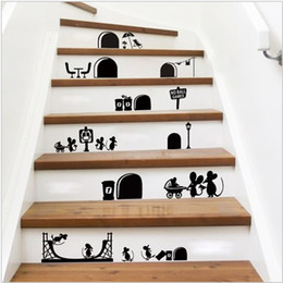 Wholesale 3D Funny Cartoon Mouse Hole Wall Stickers for Kids Rooms Home Decals Decorative Removable Wall Murals Black White Grey Colors to choose