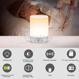 Promotion mains libres universel LED Sans fil Bluetooth Haut-parleur mains libres avec lampe de table Chambre Touch Control Support TF Card FM Radio Music Player