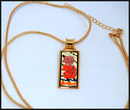 Rose Series 18K gold-plated enamel necklaces for woman Top quality rectangular pendant necklace free shipping collier