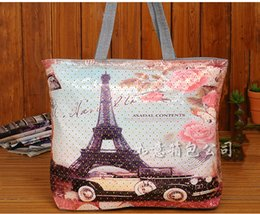 Wholesale Fashion hearts pu leather handbags The Big Ben printed one shoulder bag large capacity shopping mummy bag