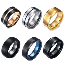 Wholesale 6 Styles Tungsten Carbide Wedding Rings Men s Rings Brushed Matte Finish Edges Comfort Fit Never Fade US Size JSF707