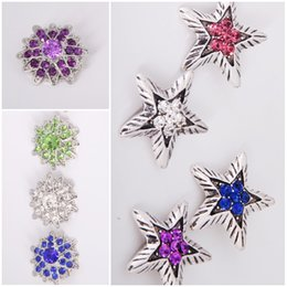 Star And Flower Rhinestone Snap Button DIY Jelwery Noosa Accessories Fit DIY Bracelet Mix 8 Style 18mm Snap Button E560L