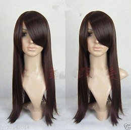 100% Brand New High Quality Fashion Picture full lace wigs>>New Long Dark Brown Cosplay Party Wig 60cm + gift