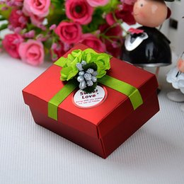 20PCS Middle Size 80 * 65 * 40MM 5 Colors Optional Handmade Rose Flower Ribbon Paper Box For Wedding Candy Jewelry Bridal Favor