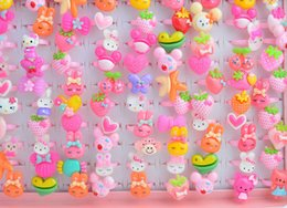 200pcs lot Animals Cartoon Assorted Plated Resin Baby Girls Children Adjustable Rings Cartoon Finger Tip Ring Kid Party Jewelry T3113