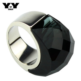 2016 Newest fashion Exaggerated Big crystal Rings in dark grey color hand made polishing luxury 100% 316L Stainless steel ring for women