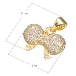 925 Silver Style Cubic Zircon Micro Pave Brass Pendant Bowknot Plated More Colors For Choice 15x11mm Hole:About 3.6mm 10PCS Lot