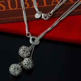 Factory direct wholesale statement necklace 925 Sterling Silver O three hanging hollow ball Necklace Fashion Silver Necklace