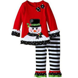 Wholesale Children Xmas Outfits Baby Girl Christmas sets clothes snowman joy t shirt long stripe long pants clotChildren Xmas Outfits Bahes suits
