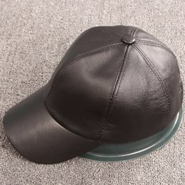 Wholesale Autumn Winter Men s Genuine Leather Hat Sheepskin Leather Baseabll Cap Super Warm Casual Handmade High Quality Black Brown