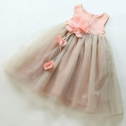 Wholesale 2017 baby girl kids party dress Summer Princess Fairy flower vest dress Fluffy yarn dress Christmas Party Dresses girls clothes